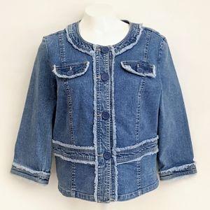 Live a Little Women's Frayed Denim Jacket